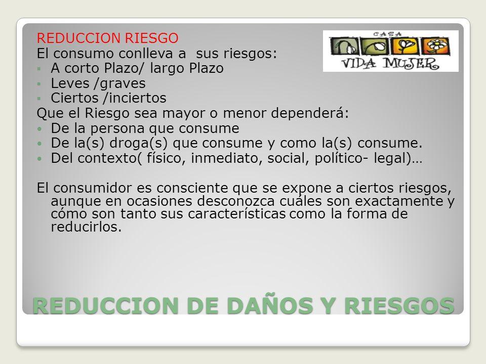 REDUCCION DE DAÑOS Y RIESGOS REDUCCION RIESGO El consumo conlleva a sus riesgos: A corto Plazo/ largo Plazo Leves /graves Ciertos /inciertos Que el Ri