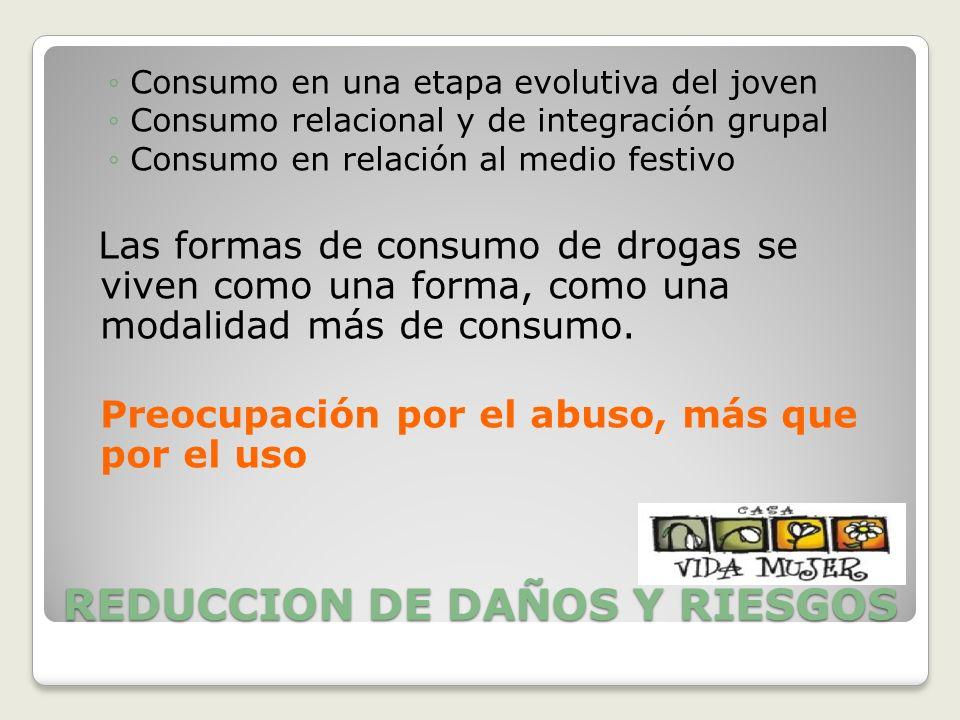 REDUCCION DE DAÑOS Y RIESGOS Consumo en una etapa evolutiva del joven Consumo relacional y de integración grupal Consumo en relación al medio festivo