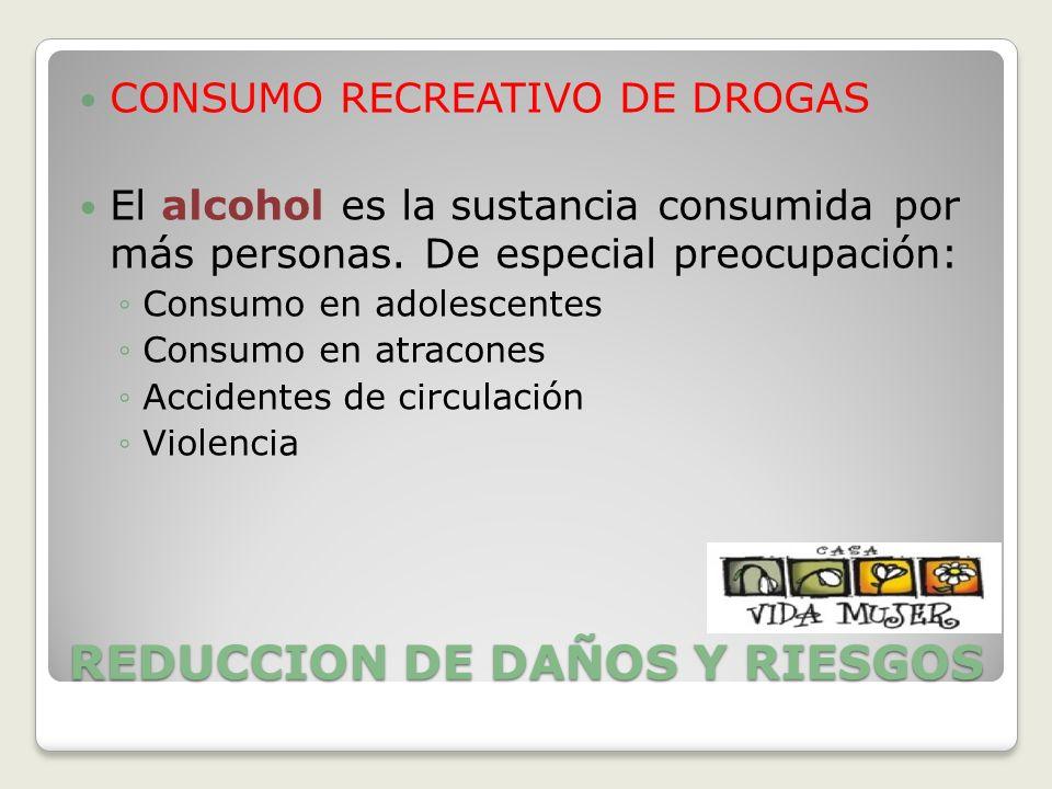 REDUCCION DE DAÑOS Y RIESGOS CONSUMO RECREATIVO DE DROGAS El alcohol es la sustancia consumida por más personas. De especial preocupación: Consumo en