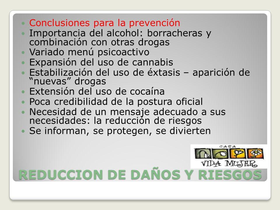 REDUCCION DE DAÑOS Y RIESGOS Conclusiones para la prevención Importancia del alcohol: borracheras y combinación con otras drogas Variado menú psicoact