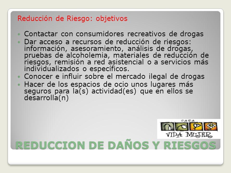REDUCCION DE DAÑOS Y RIESGOS Reducción de Riesgo: objetivos Contactar con consumidores recreativos de drogas Dar acceso a recursos de reducción de rie