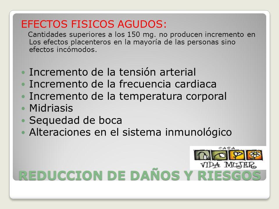 REDUCCION DE DAÑOS Y RIESGOS EFECTOS FISICOS AGUDOS: Cantidades superiores a los 150 mg. no producen incremento en Los efectos placenteros en la mayor