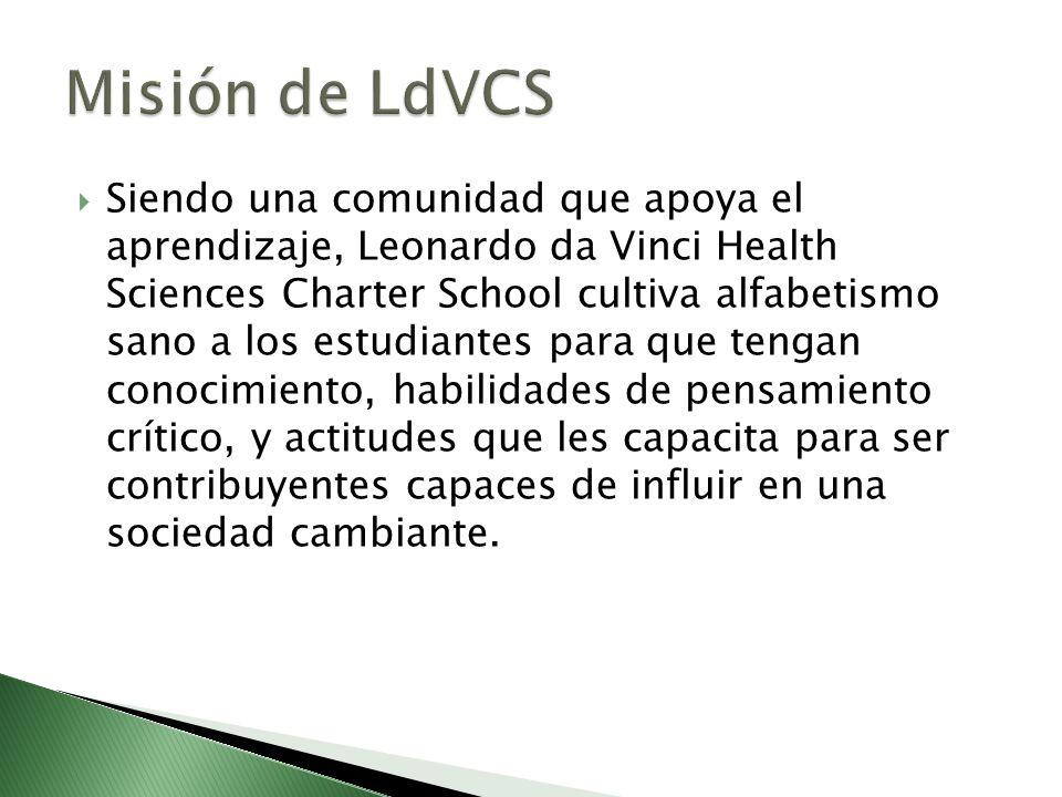 Siendo una comunidad que apoya el aprendizaje, Leonardo da Vinci Health Sciences Charter School cultiva alfabetismo sano a los estudiantes para que te