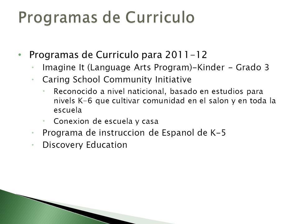 Programas de Curriculo para 2011-12 Imagine It (Language Arts Program)-Kinder - Grado 3 Caring School Community Initiative Reconocido a nivel naticion