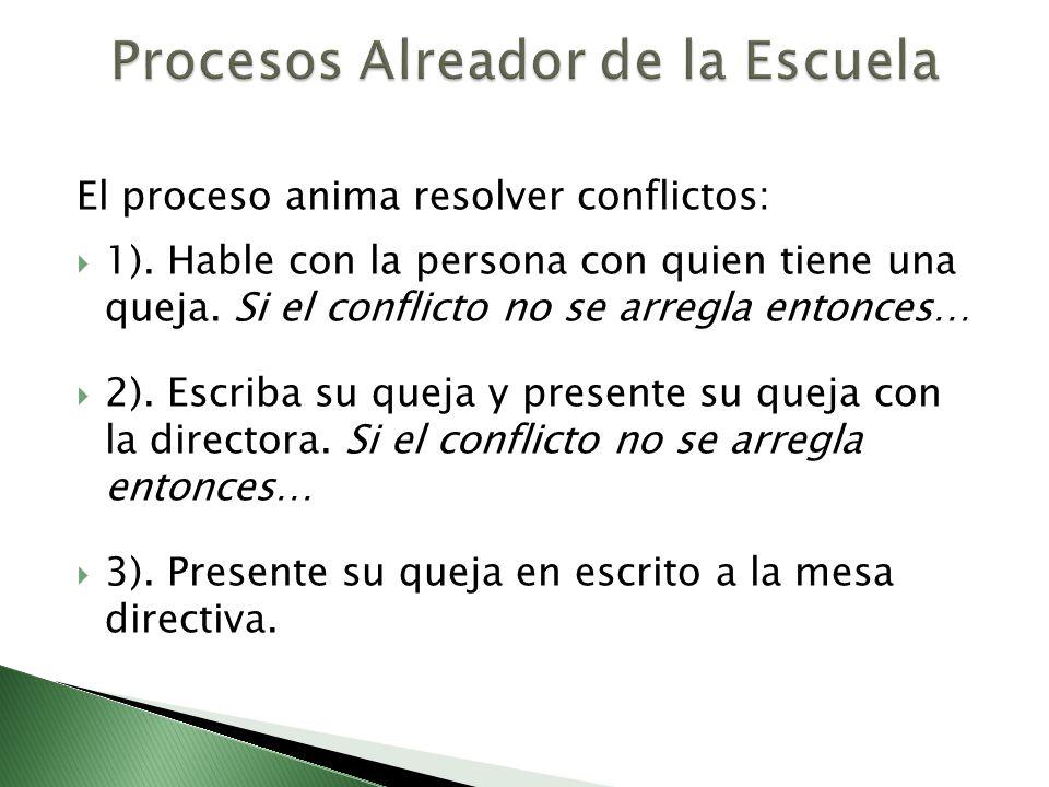 El proceso anima resolver conflictos: 1). Hable con la persona con quien tiene una queja. Si el conflicto no se arregla entonces… 2). Escriba su queja