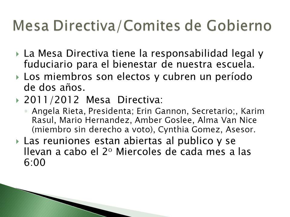 La Mesa Directiva tiene la responsabilidad legal y fuduciario para el bienestar de nuestra escuela. Los miembros son electos y cubren un período de do