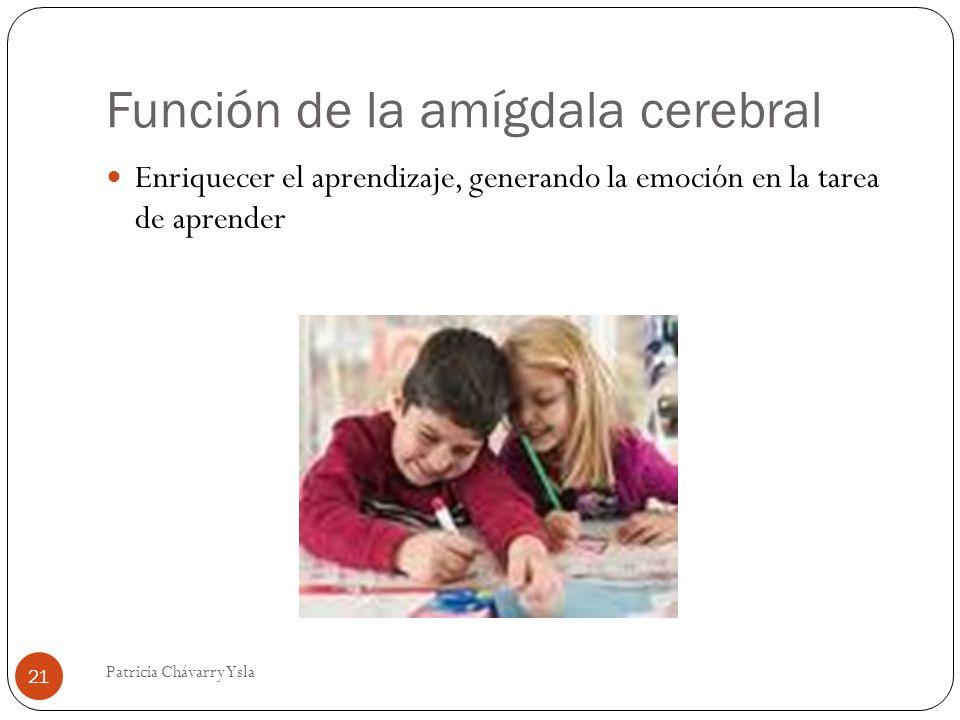 Función de la amígdala cerebral Enriquecer el aprendizaje, generando la emoción en la tarea de aprender 21 Patricia Chávarry Ysla