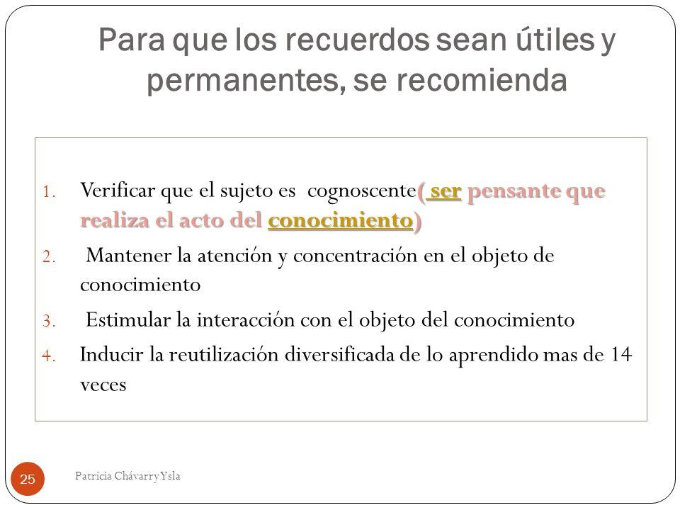 Para que los recuerdos sean útiles y permanentes, se recomienda ( ser pensante que realiza el acto del conocimiento) 1. Verificar que el sujeto es cog