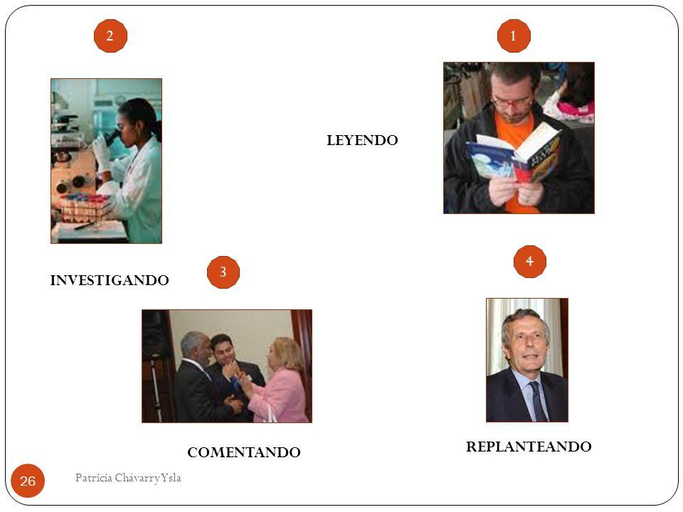 LEYENDO INVESTIGANDO COMENTANDO REPLANTEANDO 26 Patricia Chávarry Ysla 1 3 2 4