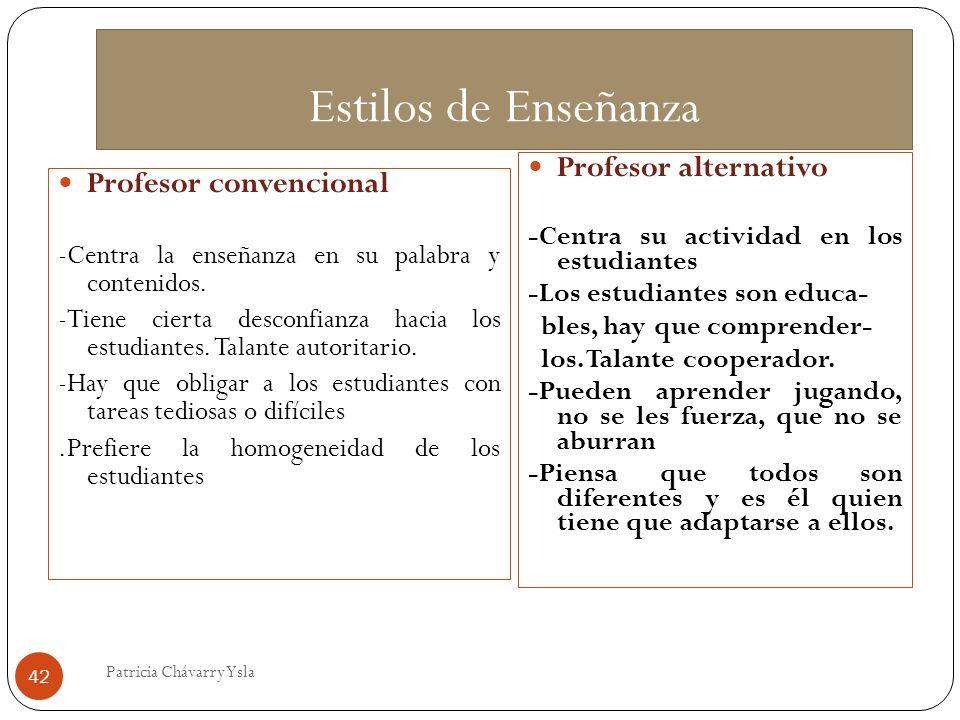 Estilos de Enseñanza Profesor convencional -Centra la enseñanza en su palabra y contenidos.