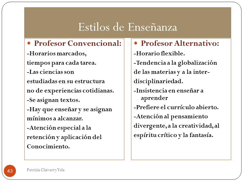 Estilos de Enseñanza Profesor Convencional: -Horarios marcados, tiempos para cada tarea. -Las ciencias son estudiadas en su estructura no de experienc