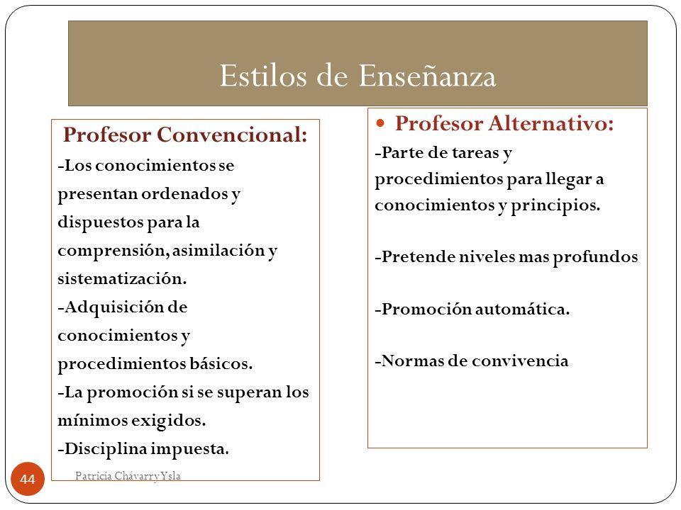 Estilos de Enseñanza Profesor Convencional: -Los conocimientos se presentan ordenados y dispuestos para la comprensión, asimilación y sistematización.