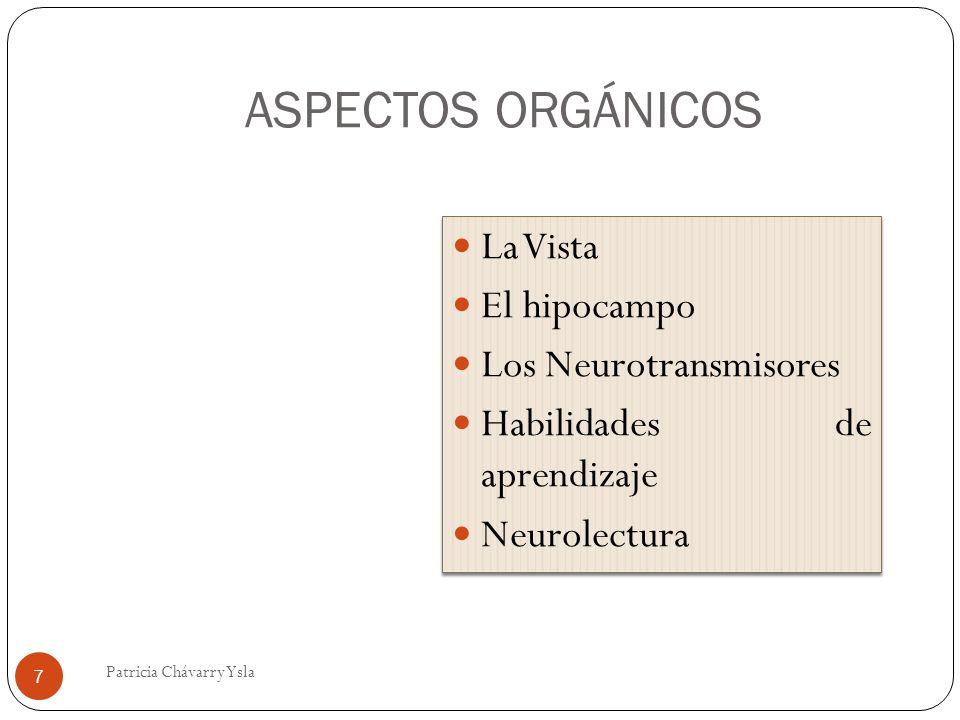 ASPECTOS ORGÁNICOS La Vista El hipocampo Los Neurotransmisores Habilidades de aprendizaje Neurolectura La Vista El hipocampo Los Neurotransmisores Habilidades de aprendizaje Neurolectura 7 Patricia Chávarry Ysla