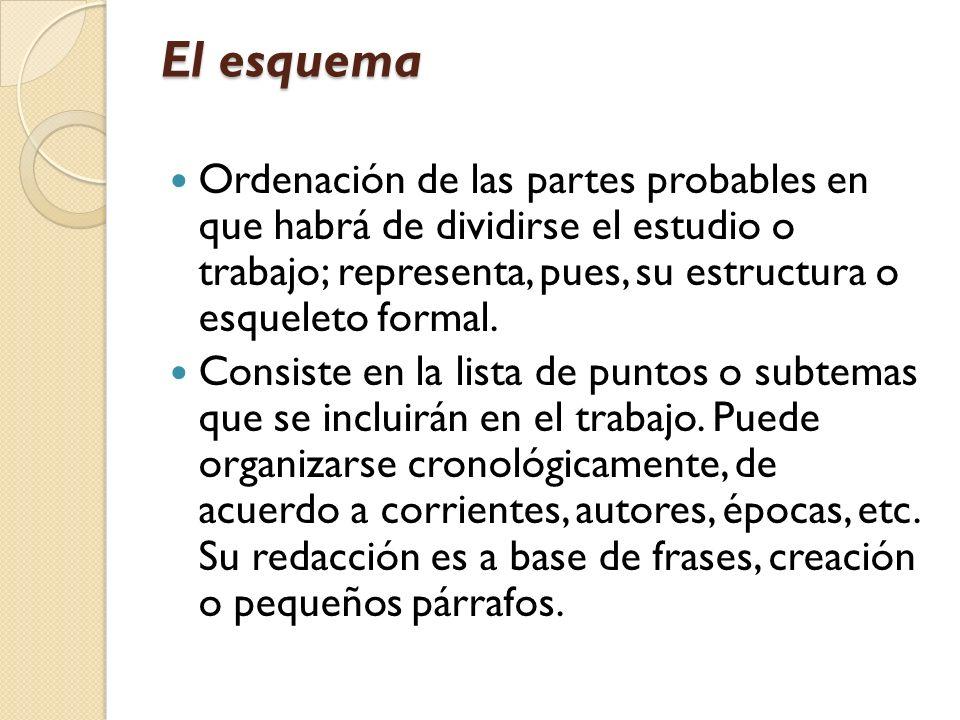 El esquema Ordenación de las partes probables en que habrá de dividirse el estudio o trabajo; representa, pues, su estructura o esqueleto formal. Cons