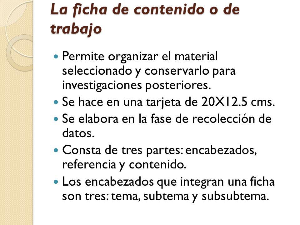 La ficha de contenido o de trabajo Permite organizar el material seleccionado y conservarlo para investigaciones posteriores. Se hace en una tarjeta d