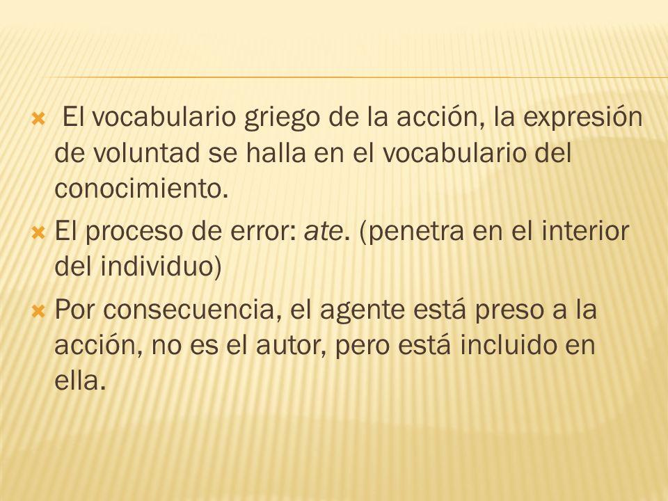 El vocabulario griego de la acción, la expresión de voluntad se halla en el vocabulario del conocimiento.
