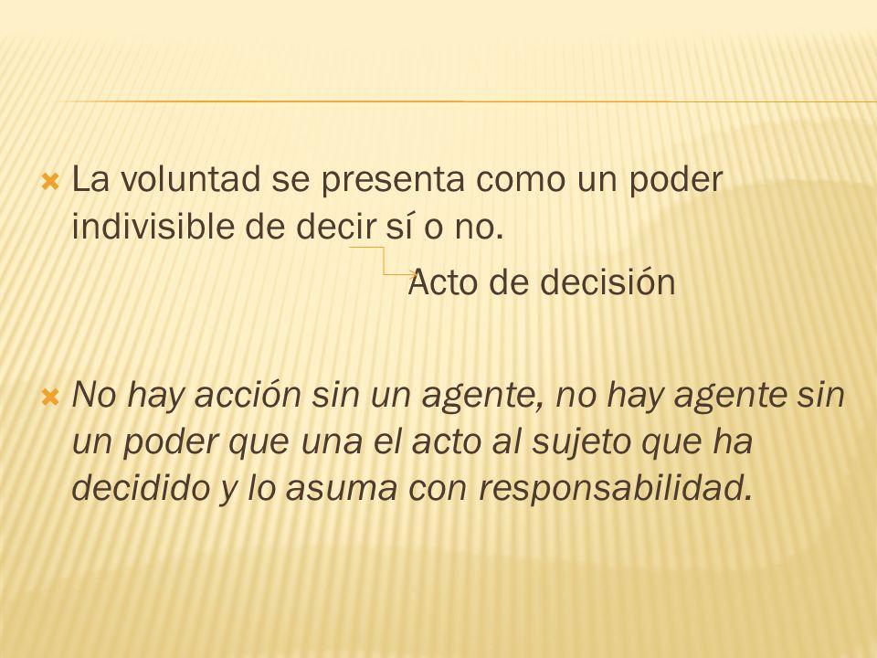 La voluntad se presenta como un poder indivisible de decir sí o no.