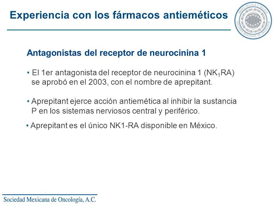 Antagonistas del receptor de neurocinina 1 El 1er antagonista del receptor de neurocinina 1 (NK 1 RA) se aprobó en el 2003, con el nombre de aprepitan