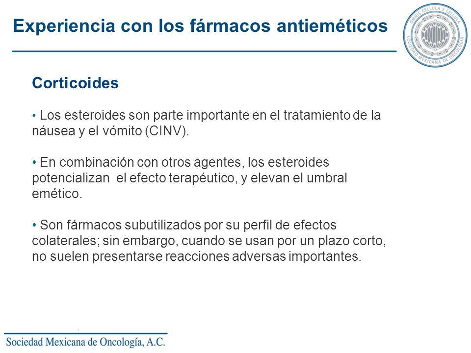 Corticoides Los esteroides son parte importante en el tratamiento de la náusea y el vómito (CINV). En combinación con otros agentes, los esteroides po
