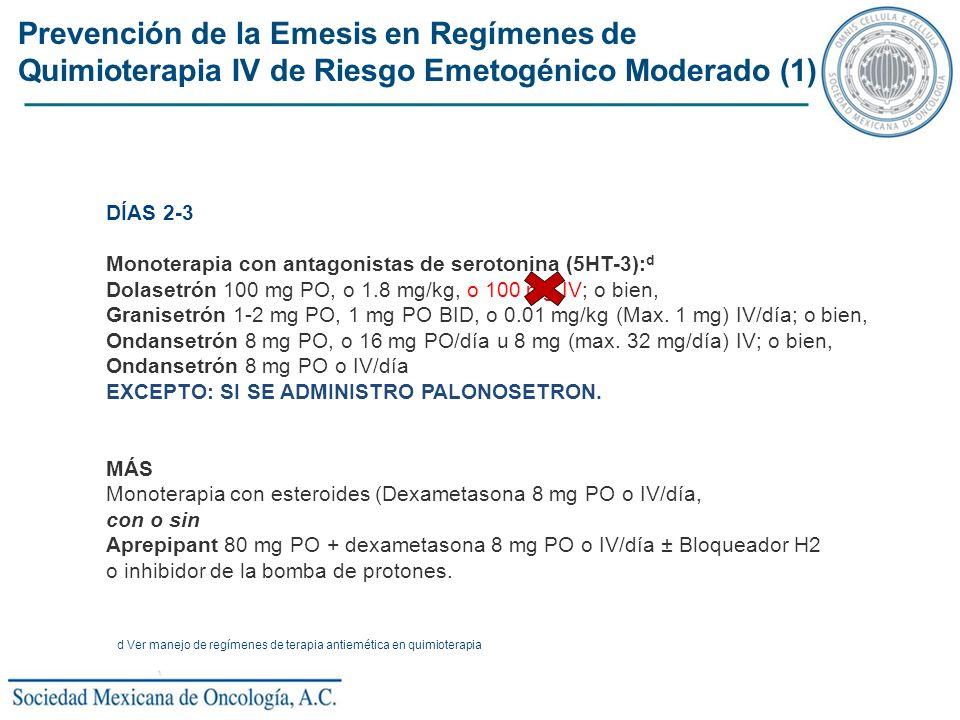 Prevención de la Emesis en Regímenes de Quimioterapia IV de Riesgo Emetogénico Moderado (1) DÍAS 2-3 Monoterapia con antagonistas de serotonina (5HT-3
