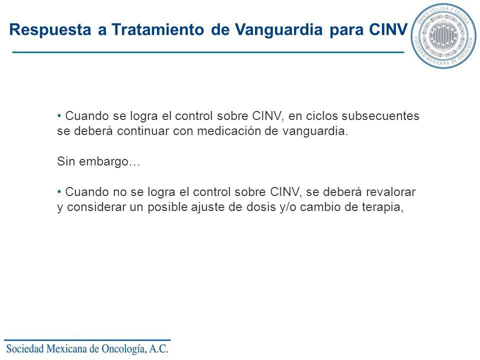 Respuesta a Tratamiento de Vanguardia para CINV Cuando se logra el control sobre CINV, en ciclos subsecuentes se deberá continuar con medicación de va