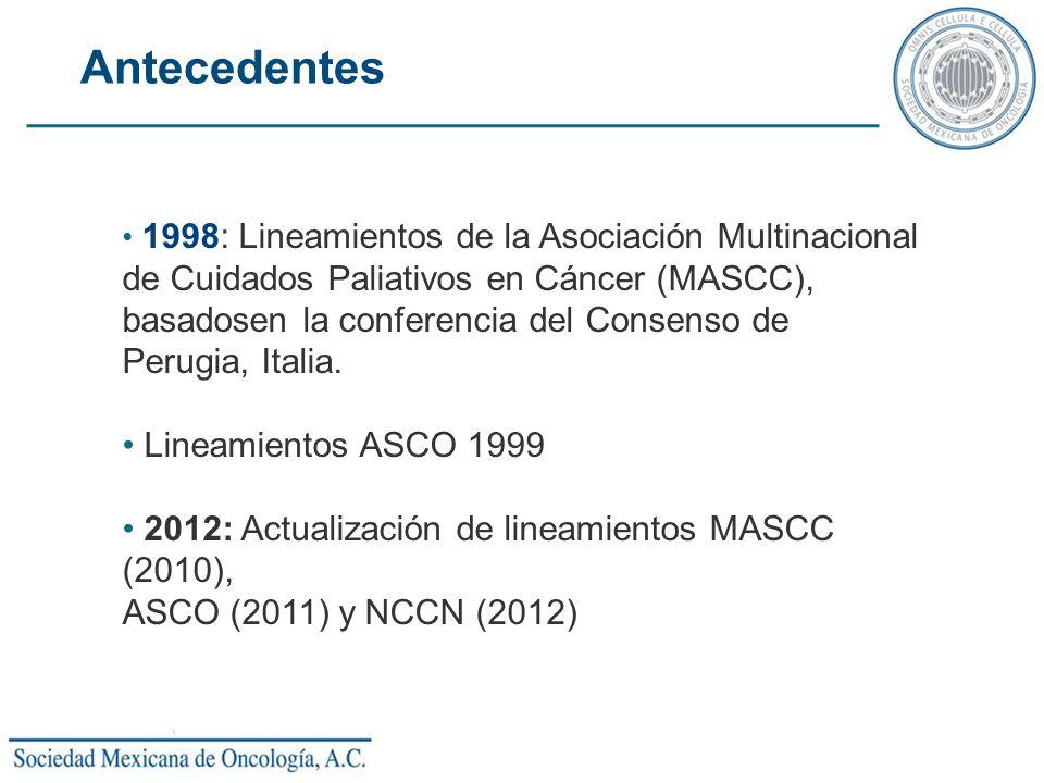 1998: Lineamientos de la Asociación Multinacional de Cuidados Paliativos en Cáncer (MASCC), basadosen la conferencia del Consenso de Perugia, Italia.
