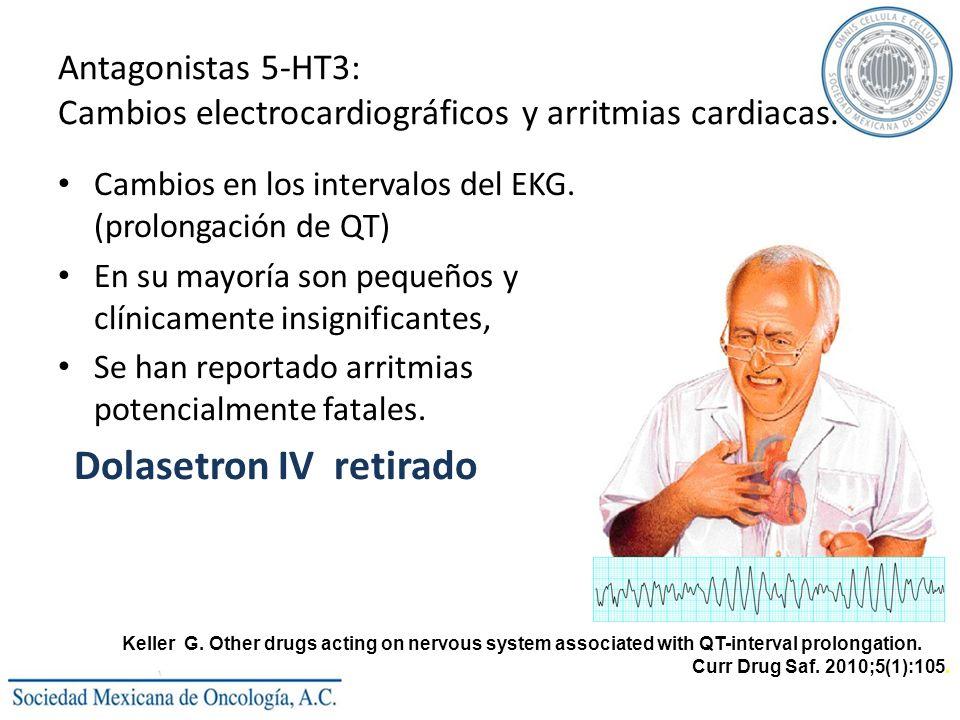 Antagonistas 5-HT3: Cambios electrocardiográficos y arritmias cardiacas. Cambios en los intervalos del EKG. (prolongación de QT) En su mayoría son peq
