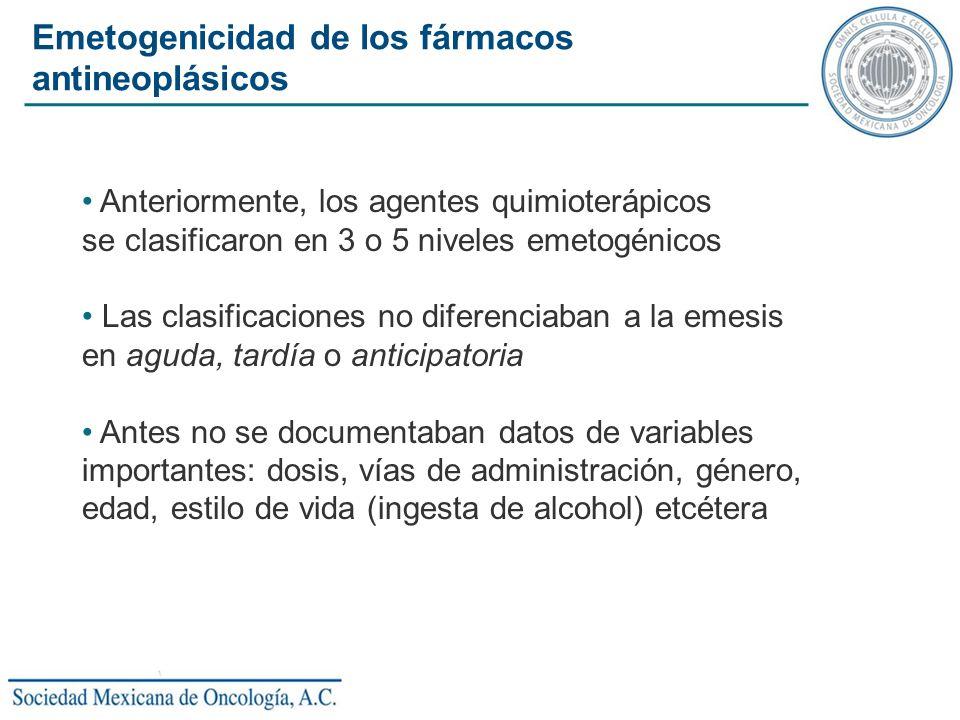 Anteriormente, los agentes quimioterápicos se clasificaron en 3 o 5 niveles emetogénicos Las clasificaciones no diferenciaban a la emesis en aguda, ta