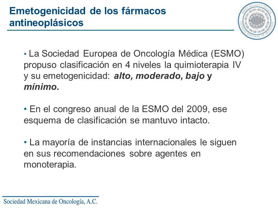 La Sociedad Europea de Oncología Médica (ESMO) propuso clasificación en 4 niveles la quimioterapia IV y su emetogenicidad: alto, moderado, bajo y míni