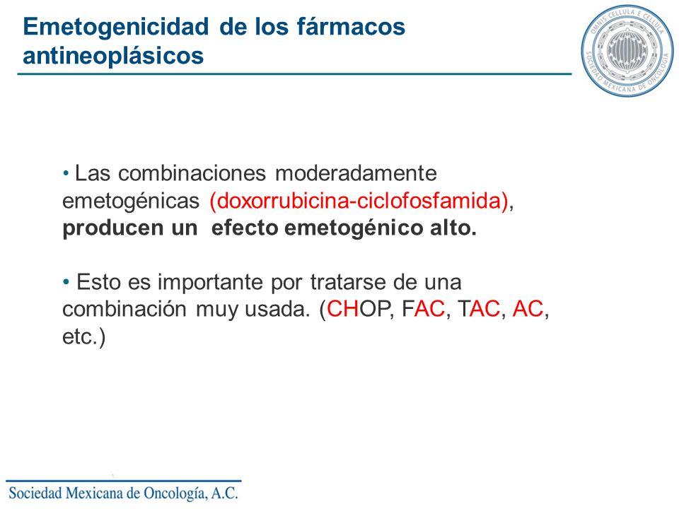 Las combinaciones moderadamente emetogénicas (doxorrubicina-ciclofosfamida), producen un efecto emetogénico alto. Esto es importante por tratarse de u