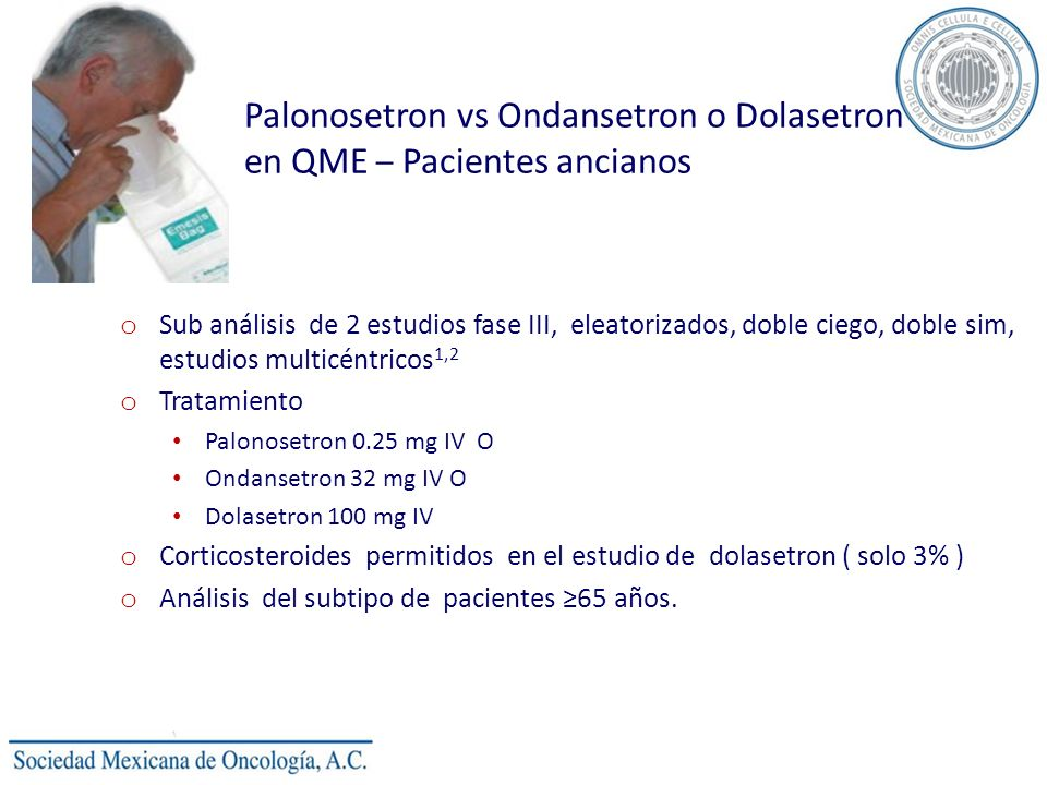 Palonosetron vs Ondansetron o Dolasetron en QME – Pacientes ancianos o Sub análisis de 2 estudios fase III, eleatorizados, doble ciego, doble sim, est