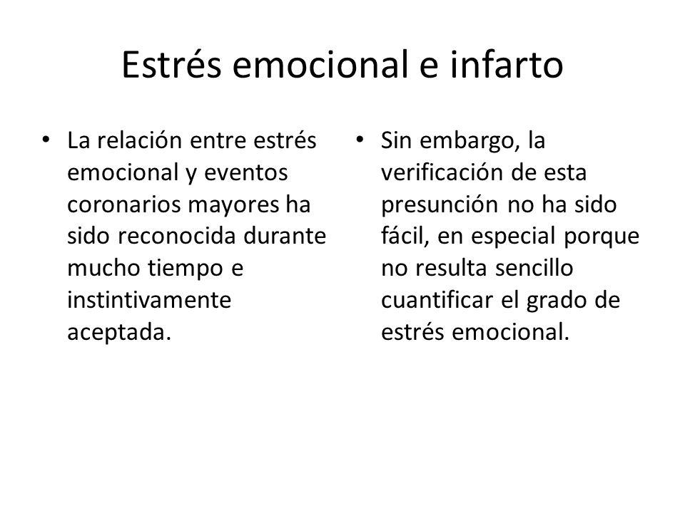 Estrés emocional e infarto La relación entre estrés emocional y eventos coronarios mayores ha sido reconocida durante mucho tiempo e instintivamente a