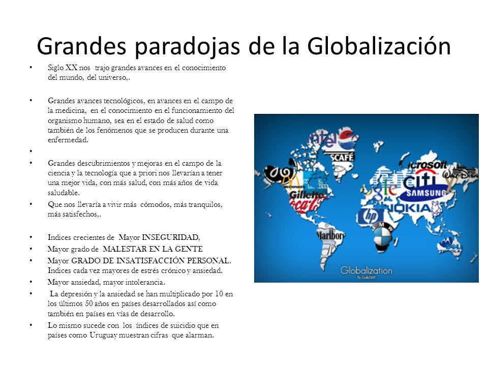 Grandes paradojas de la Globalización Siglo XX nos trajo grandes avances en el conocimiento del mundo, del universo,. Grandes avances tecnológicos, en