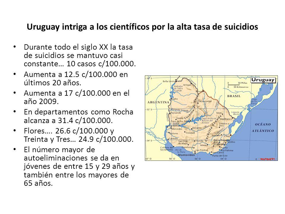 Uruguay intriga a los científicos por la alta tasa de suicidios Durante todo el siglo XX la tasa de suicidios se mantuvo casi constante… 10 casos c/10