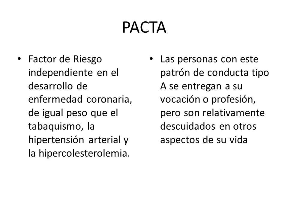 PACTA Factor de Riesgo independiente en el desarrollo de enfermedad coronaria, de igual peso que el tabaquismo, la hipertensión arterial y la hipercol