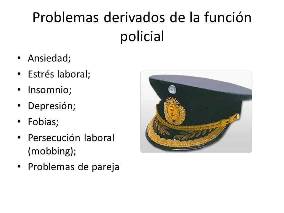 Problemas derivados de la función policial Ansiedad; Estrés laboral; Insomnio; Depresión; Fobias; Persecución laboral (mobbing); Problemas de pareja