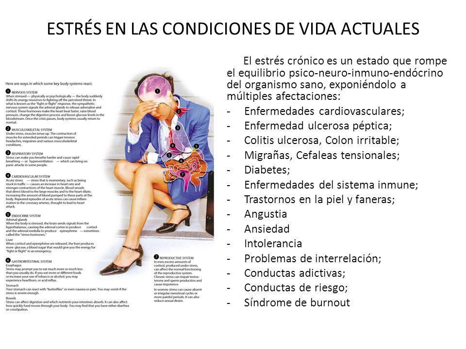 ESTRÉS EN LAS CONDICIONES DE VIDA ACTUALES El estrés crónico es un estado que rompe el equilibrio psico-neuro-inmuno-endócrino del organismo sano, exp