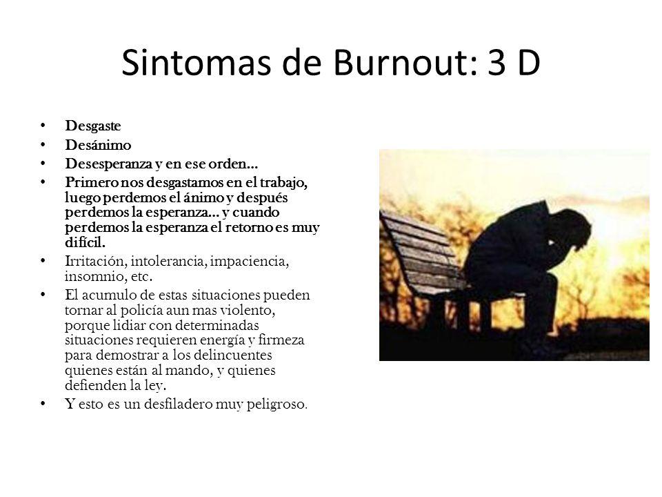 Sintomas de Burnout: 3 D Desgaste Desánimo Desesperanza y en ese orden… Primero nos desgastamos en el trabajo, luego perdemos el ánimo y después perde