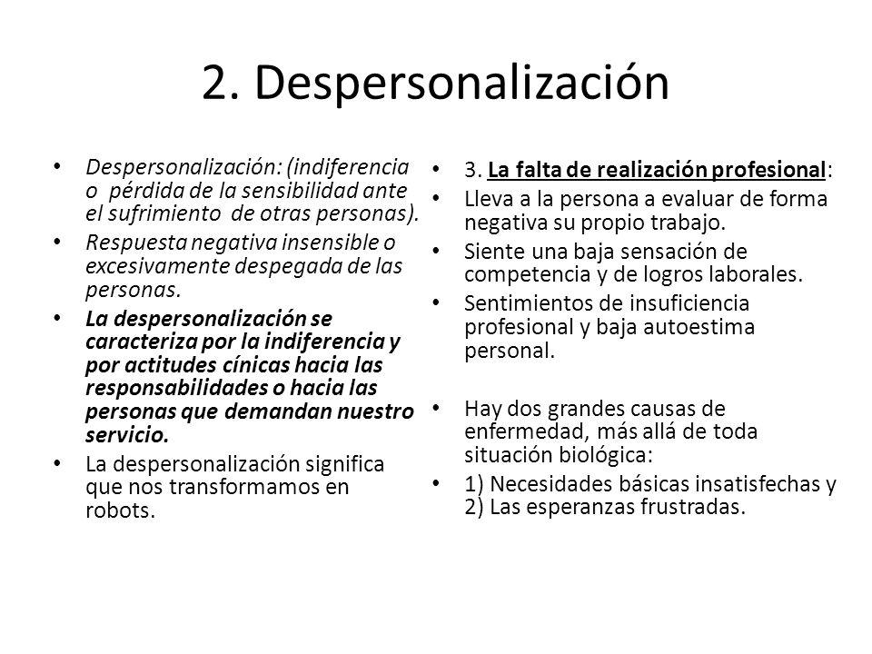 2. Despersonalización Despersonalización: (indiferencia o pérdida de la sensibilidad ante el sufrimiento de otras personas). Respuesta negativa insens