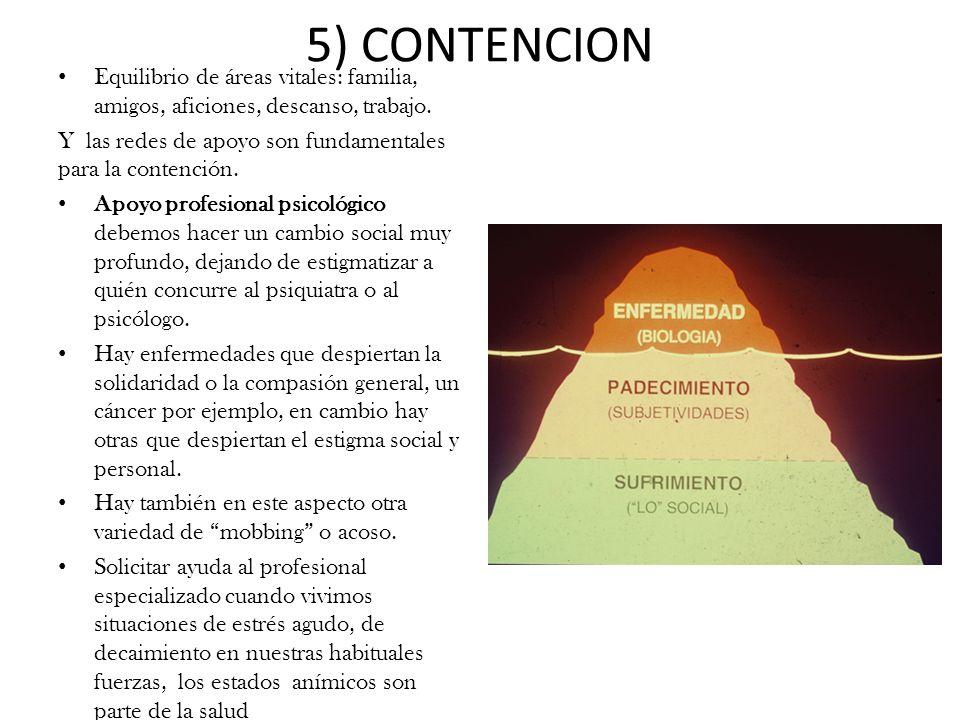 5) CONTENCION Equilibrio de áreas vitales: familia, amigos, aficiones, descanso, trabajo. Y las redes de apoyo son fundamentales para la contención. A