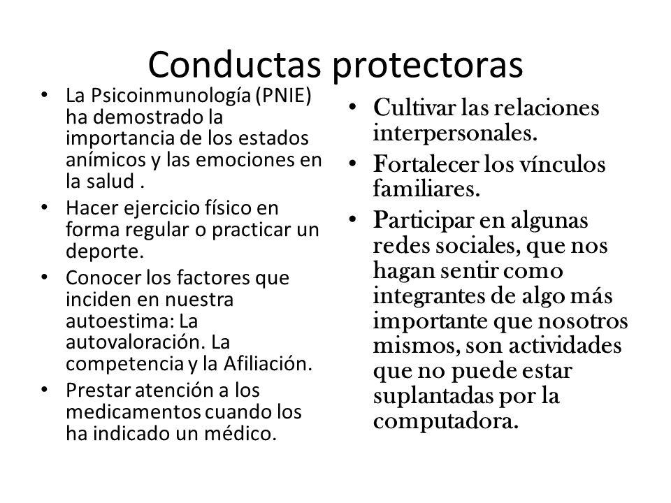 Conductas protectoras La Psicoinmunología (PNIE) ha demostrado la importancia de los estados anímicos y las emociones en la salud. Hacer ejercicio fís