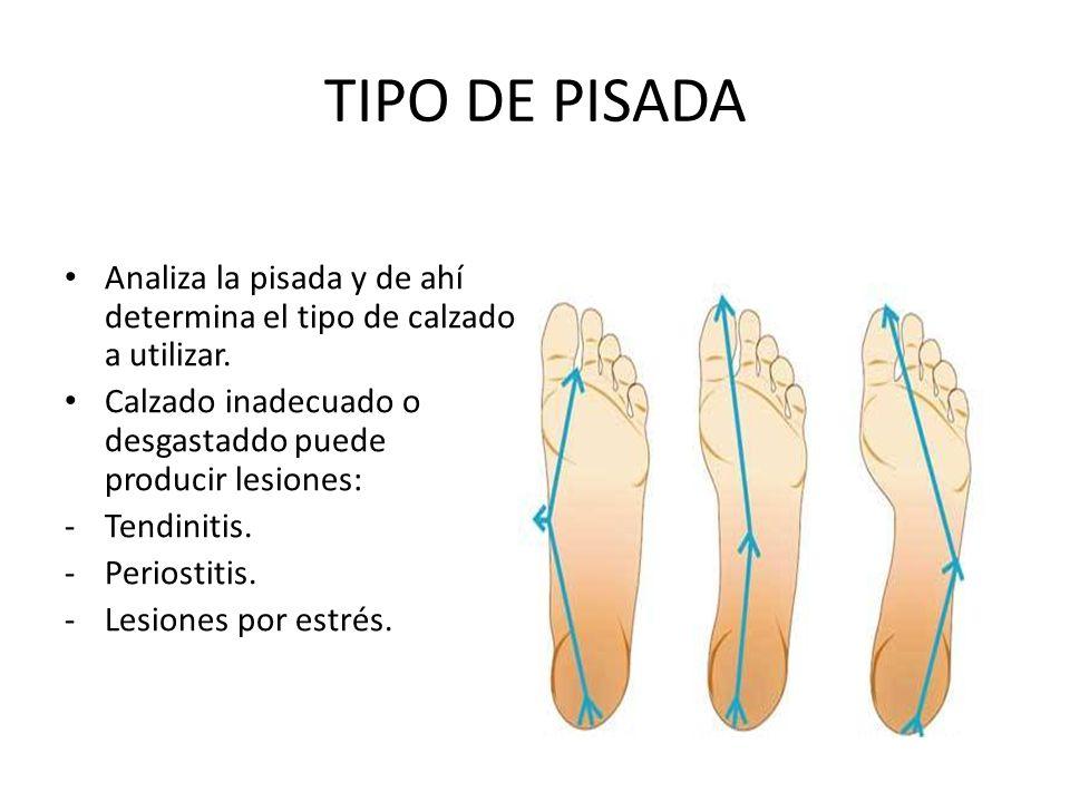 TIPO DE PISADA Analiza la pisada y de ahí determina el tipo de calzado a utilizar. Calzado inadecuado o desgastaddo puede producir lesiones: -Tendinit