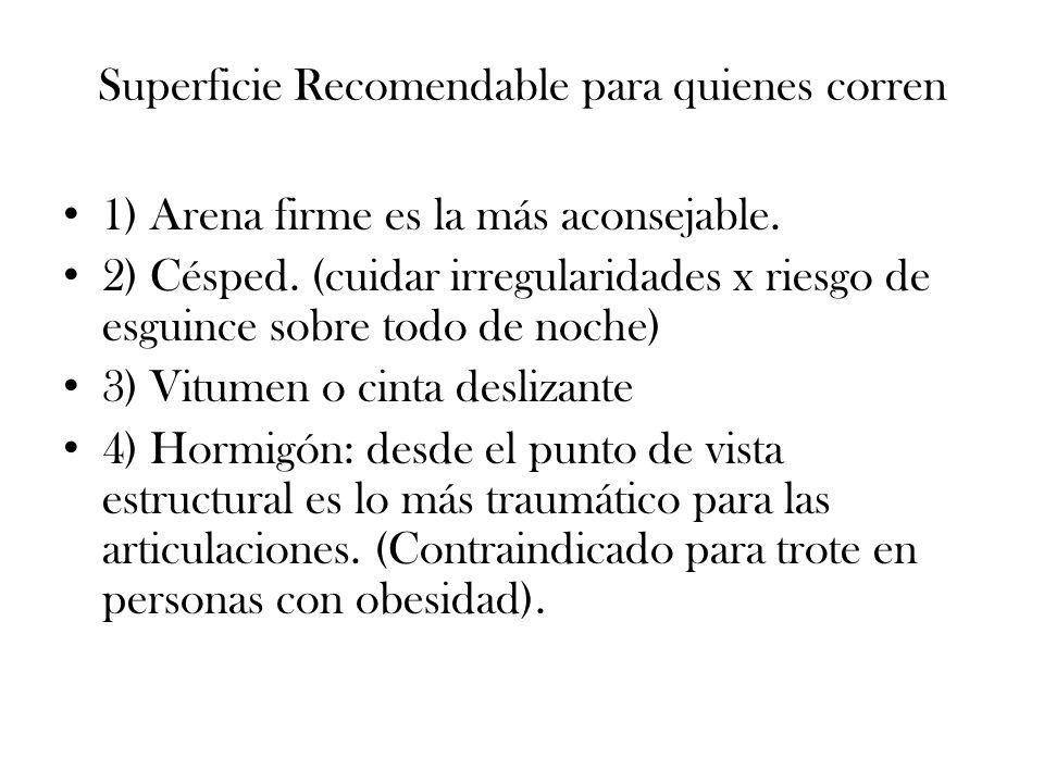 Superficie Recomendable para quienes corren 1) Arena firme es la más aconsejable. 2) Césped. (cuidar irregularidades x riesgo de esguince sobre todo d