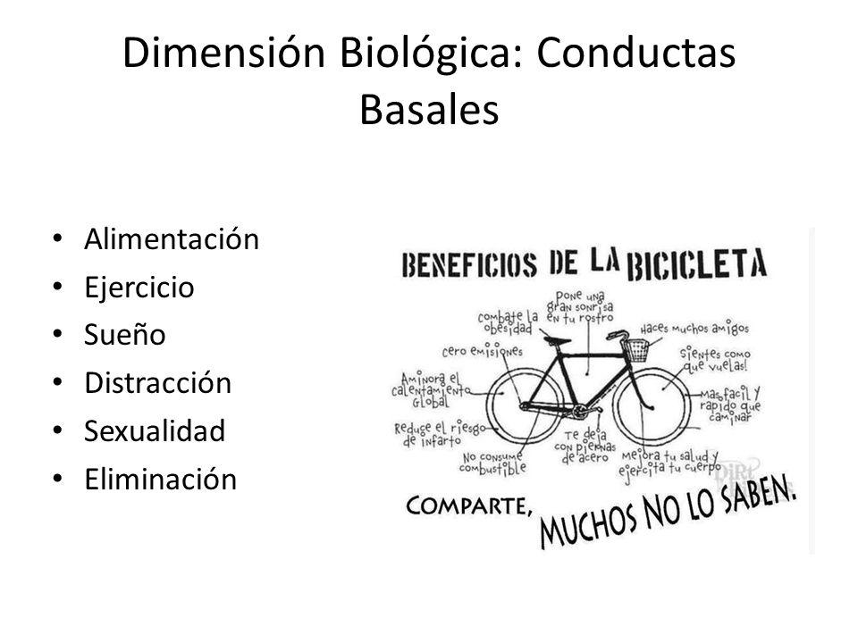 Dimensión Biológica: Conductas Basales Alimentación Ejercicio Sueño Distracción Sexualidad Eliminación