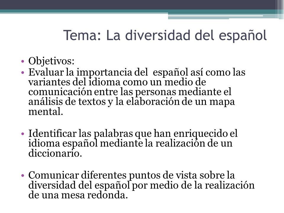 Tema: La diversidad del español Objetivos: Evaluar la importancia del español así como las variantes del idioma como un medio de comunicación entre la