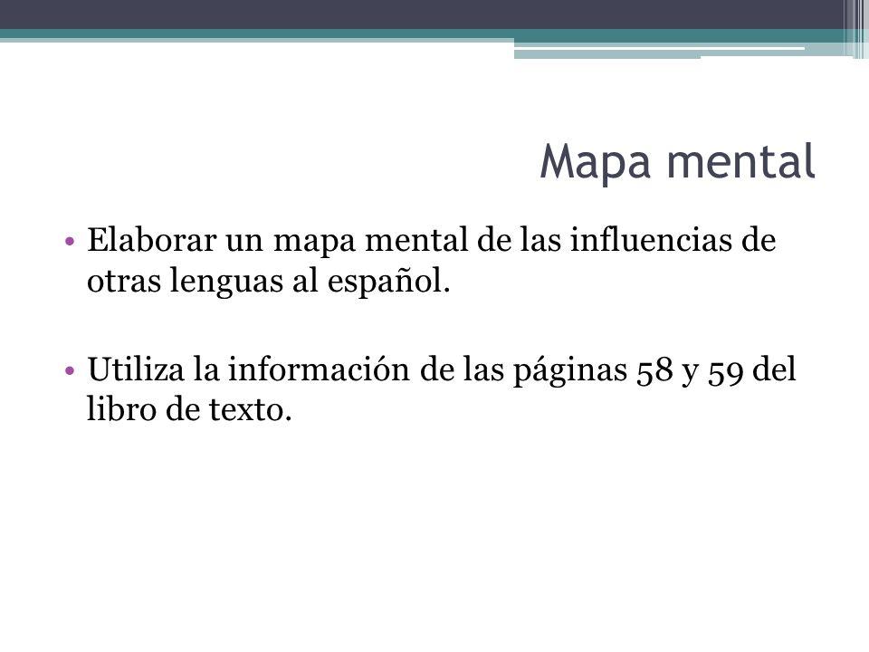 Mapa mental Elaborar un mapa mental de las influencias de otras lenguas al español. Utiliza la información de las páginas 58 y 59 del libro de texto.