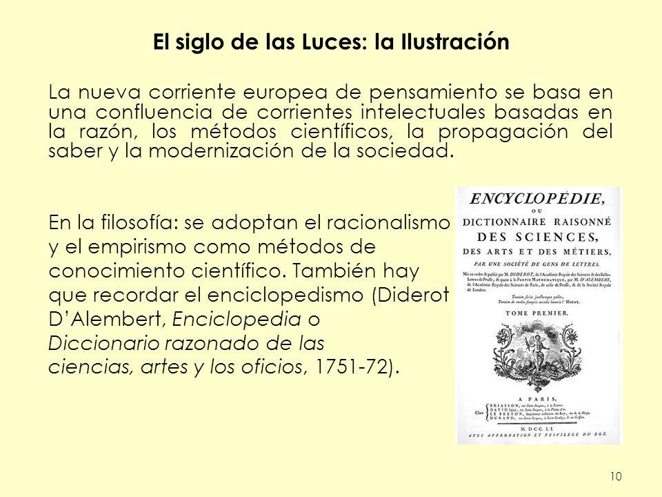 El siglo de las Luces: la Ilustración La nueva corriente europea de pensamiento se basa en una confluencia de corrientes intelectuales basadas en la razón, los métodos científicos, la propagación del saber y la modernización de la sociedad.