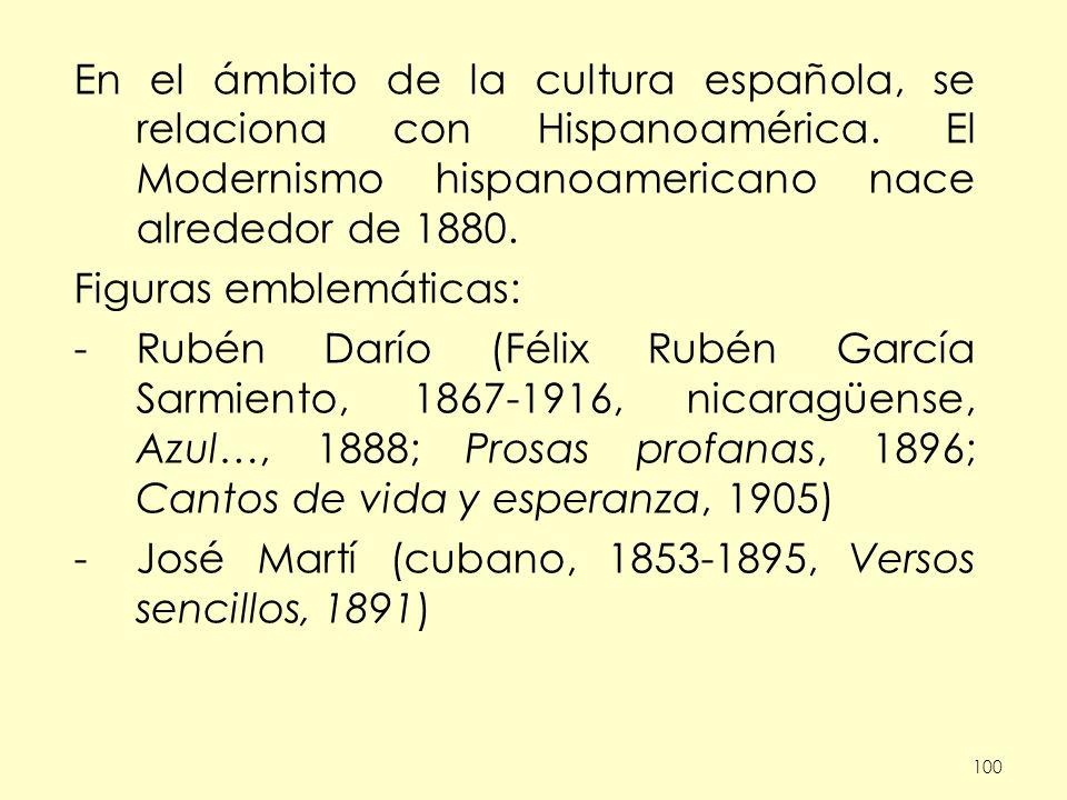 100 En el ámbito de la cultura española, se relaciona con Hispanoamérica. El Modernismo hispanoamericano nace alrededor de 1880. Figuras emblemáticas: