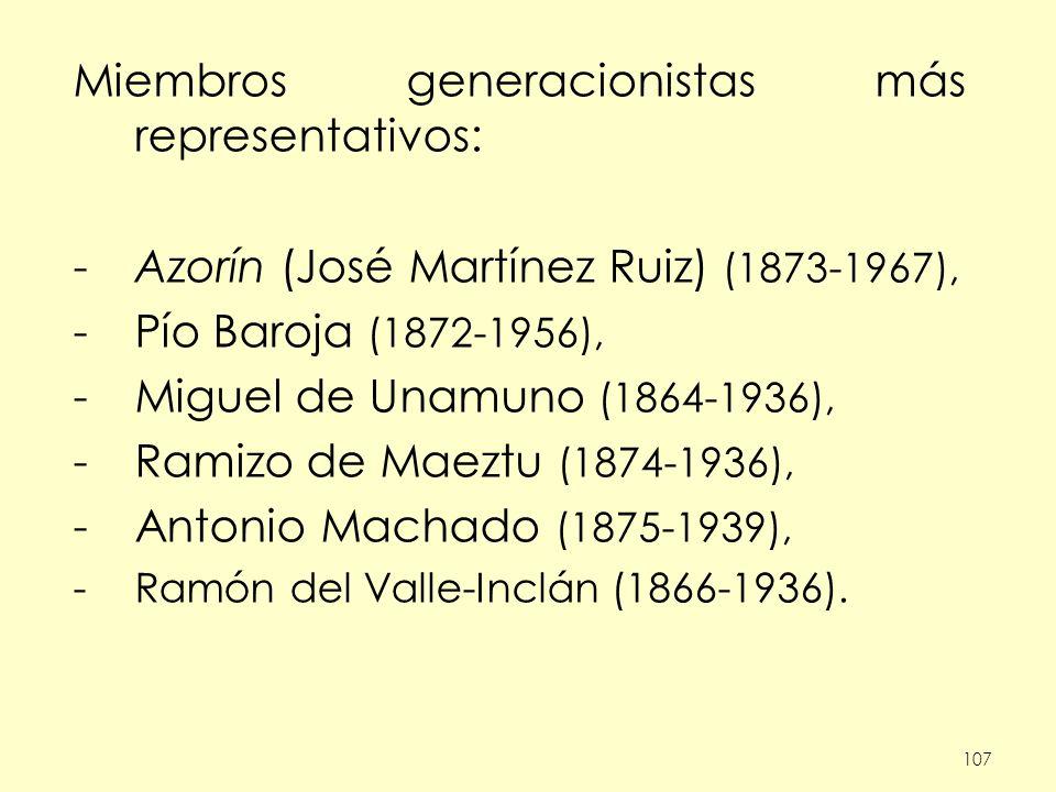 107 Miembros generacionistas más representativos: -Azorín (José Martínez Ruiz) (1873-1967), -Pío Baroja (1872-1956), -Miguel de Unamuno (1864-1936), -