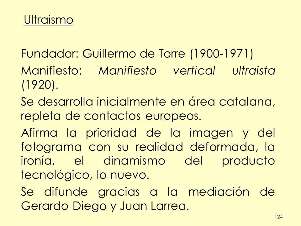 124 Ultraismo Fundador: Guillermo de Torre (1900-1971) Manifiesto: Manifiesto vertical ultraista (1920). Se desarrolla inicialmente en área catalana,
